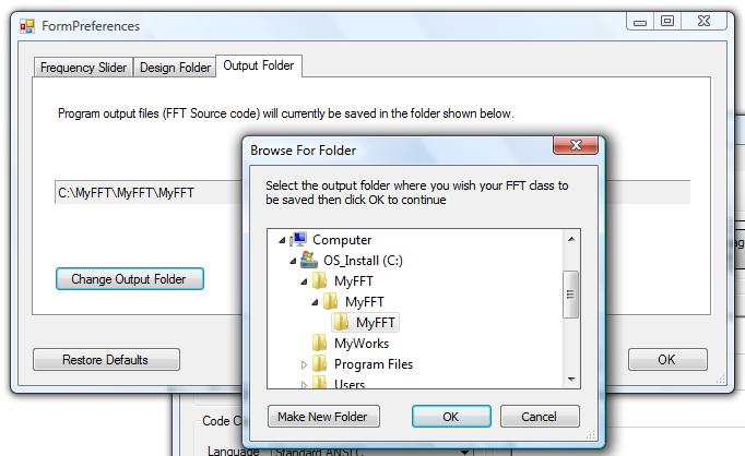 change output folder